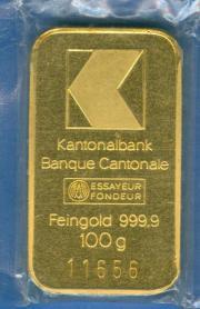 100g. Goldbarren, Kantonalbank,