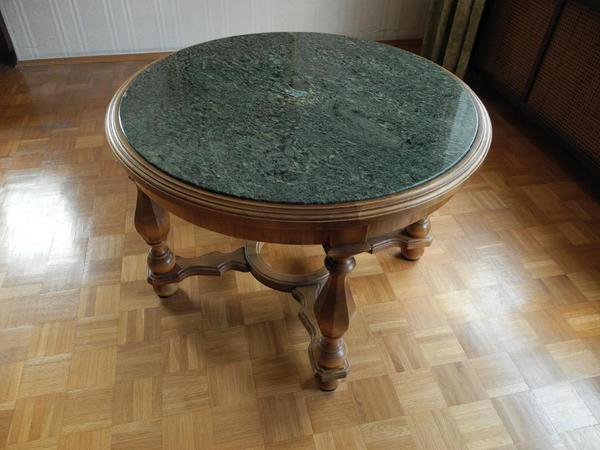 Antiker Wohnzimmertisch, rund, Massivholz mit Marmorplatte, super ...