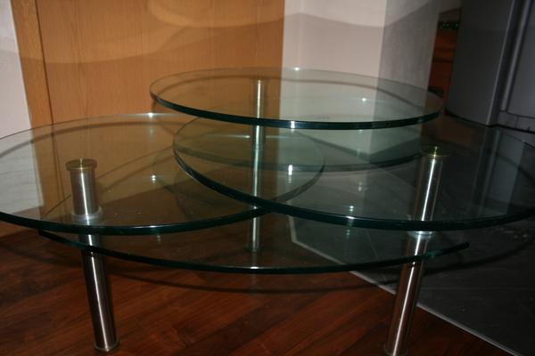 couchtisch glas mit 3 drehbaren glasplatten in f rstenfeldbruck couchtische kaufen und. Black Bedroom Furniture Sets. Home Design Ideas