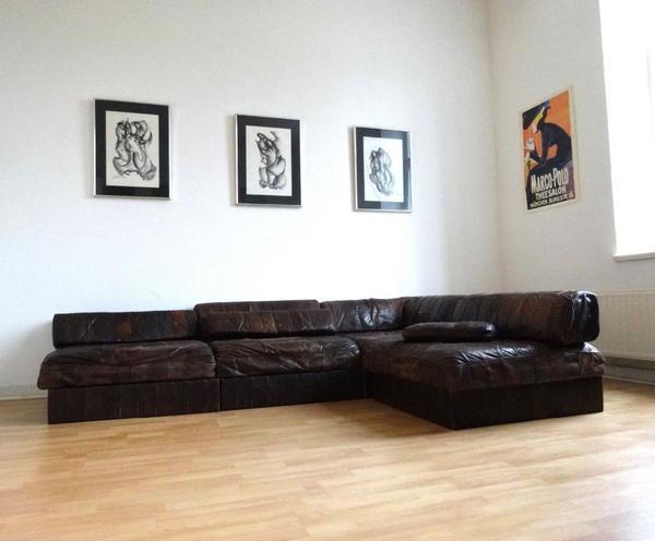 De sede ds88 sofa garnitur leder patchwork 70er vintage for Wohnlandschaft quoka
