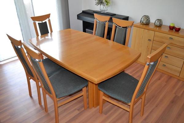 esstisch aus buche massivholz mit 8 st hlen zu verkaufen ma e l160cm x b93cm x h74cm tisch. Black Bedroom Furniture Sets. Home Design Ideas