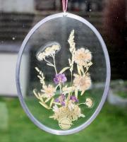 Glasbild * Echte Blumen *