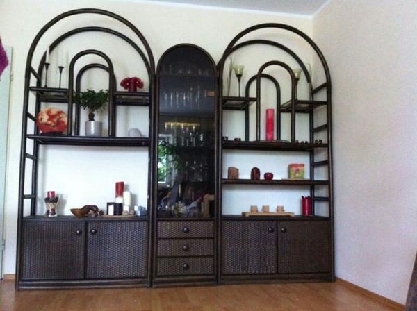 hochwertiger rattan schrank wohnzimmerschrank beleuchtb. Black Bedroom Furniture Sets. Home Design Ideas