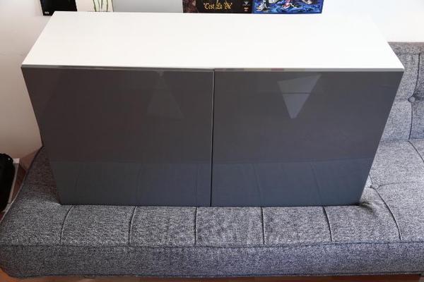 Ikea besta in wei tofta hochglanz grau t ren 120x40x64 for Ikea funkuhr
