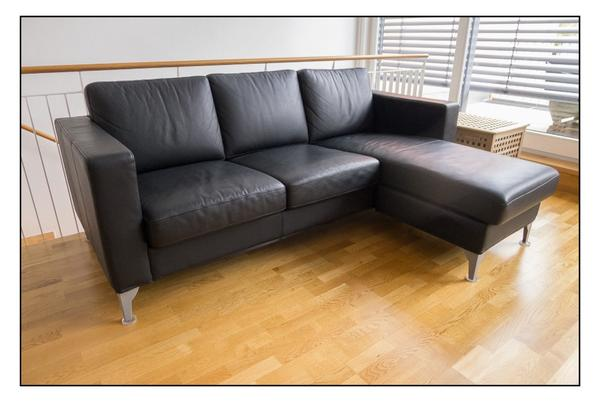 ikea karlanda 3er sofa mit ottomane leder schwarz in m nchen ikea m bel kaufen und verkaufen. Black Bedroom Furniture Sets. Home Design Ideas