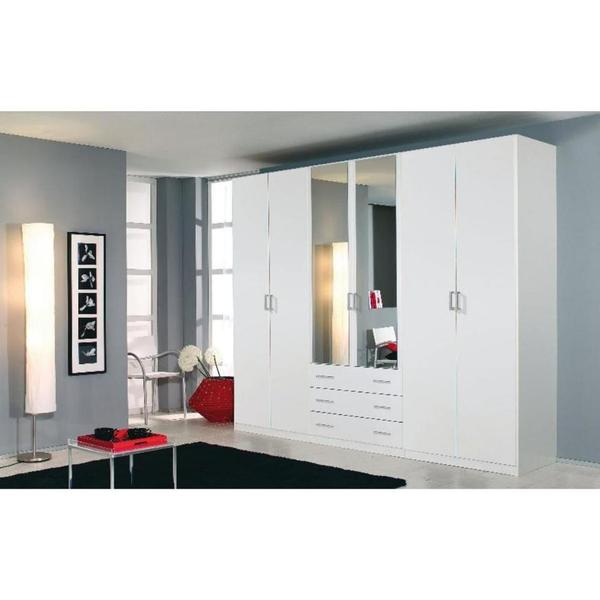kleiderschrank wei spiegel spiegelt ren silber neu wie. Black Bedroom Furniture Sets. Home Design Ideas