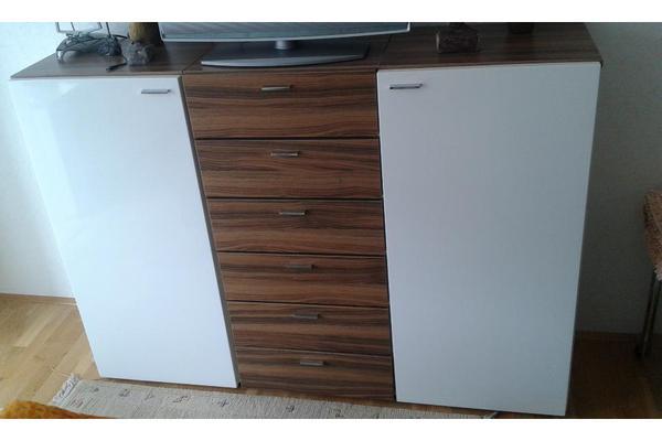 kommode hochglanz weiss holz 150x108x38. Black Bedroom Furniture Sets. Home Design Ideas