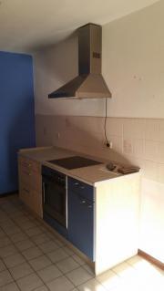 Küche ahorn/ dunkelblau