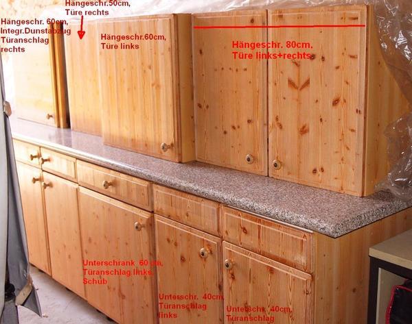 k chenzeile kiefer natur 280cm front echtholz dunstabzug. Black Bedroom Furniture Sets. Home Design Ideas