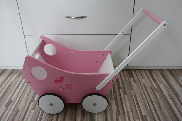 Lauflernwagen Holz Puppenwagen ~ Lauflernwagen Holz Puppenwagen rosa weiß mit Schmetterlingen