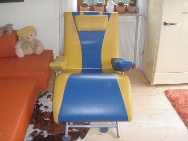 leder relax sessel lese sessel ferseh stuhl firma ott x otic gelb blau in m nchen. Black Bedroom Furniture Sets. Home Design Ideas