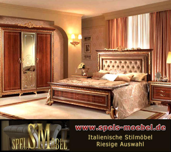 luxus m bel komplett schlafzimmer giotto canaletto nussbaum gold italienische klassische. Black Bedroom Furniture Sets. Home Design Ideas
