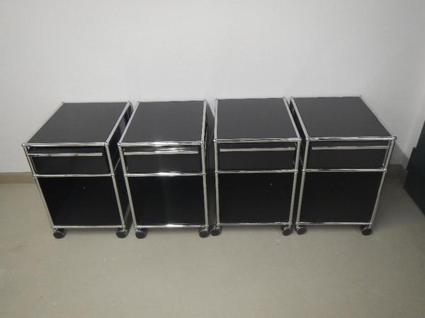 original usm haller rollcontainer 3st ck farbe schwarz in m nchen b rom bel kaufen und. Black Bedroom Furniture Sets. Home Design Ideas