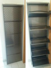 Schmaler Aluminium Schuhschrank -