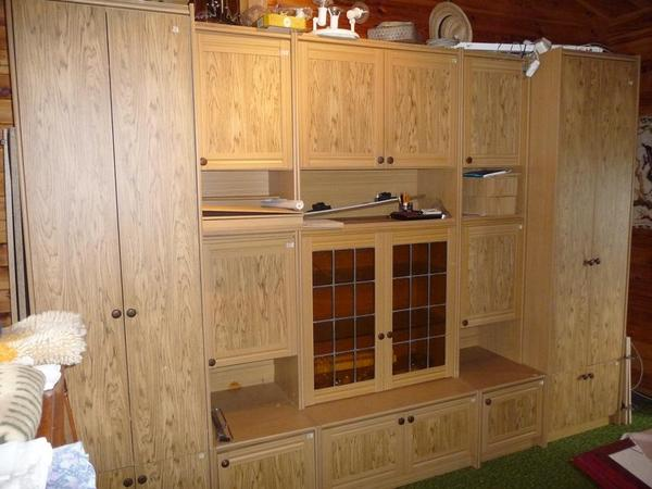schrankwand wohnwand mit 2x kleiderschrank in berlin. Black Bedroom Furniture Sets. Home Design Ideas
