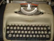 Schreibmaschine, grau/grün,
