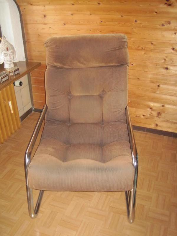 sessel freischwinger aus den 70er jahren cord und chrom in kraichtal polster sessel couch. Black Bedroom Furniture Sets. Home Design Ideas