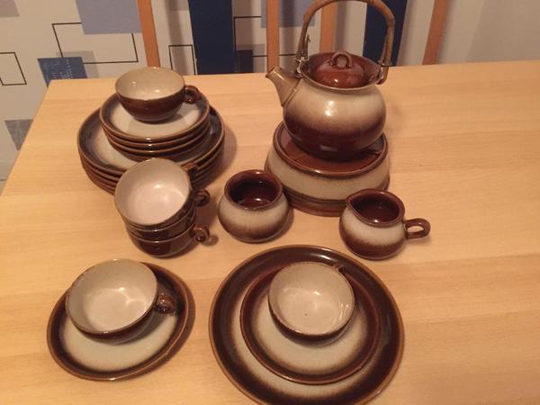 teeservice keramik kanne tassen und kuchenteller. Black Bedroom Furniture Sets. Home Design Ideas