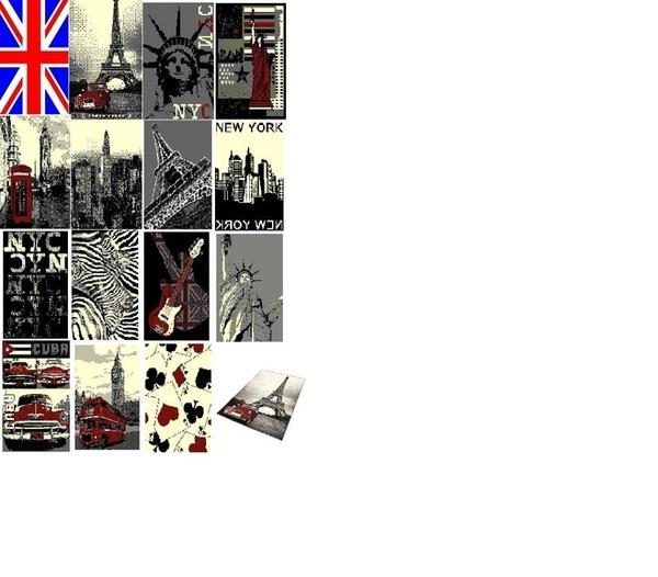 Teppich mit Motiv verschiedene Städte City Union Jack Gr