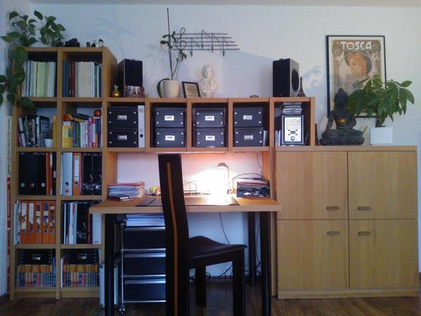 wohnwand b ro schreibtisch in f rth wohnzimmerschr nke. Black Bedroom Furniture Sets. Home Design Ideas