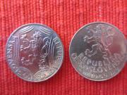 2 Silbermünzen Republica Ceskoslovenska 100