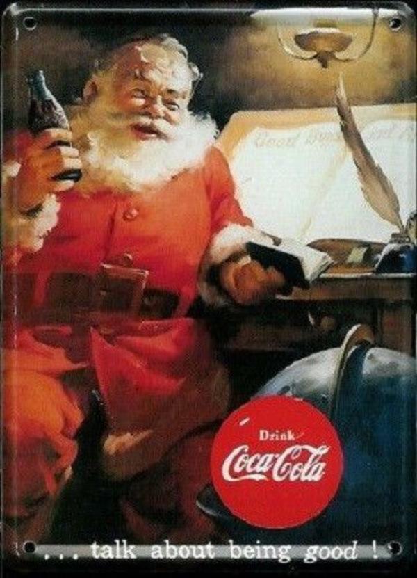 Coca Cola Weihnachtsmann 1 Mini - Blechschild 8 x 11 cm - Bad Homburg - Coca Cola schönes Miniatur - Blechschild in Größe 08 x 11 cm.~ Coca Cola Weihnachtsmann 1 ~~ leicht gewölbt & Rahmen geprägt ~~ Ecken abgerundet & gebohrt ~~ Rückseite beschriftbar (Grußkarte) ist nass geworden~ mit Magnet & Sticker ~ - Bad Homburg