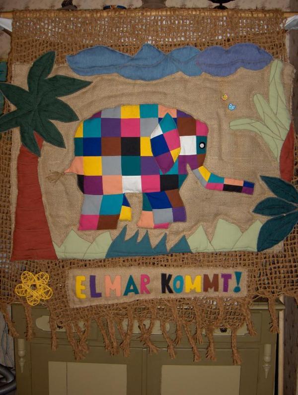elefant elmar wandbehang kinderzimmer kindergarten unikat
