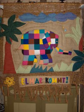 Elefant Elmar Wandbehang Kinderzimmer Kindergarten Unikat Weihnachten Geschenk