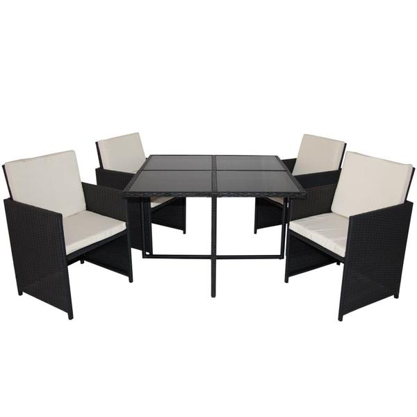 essgruppe gartenm bel polyrattan schwarz tisch b109 109cm neu in rietberg kaufen und verkaufen. Black Bedroom Furniture Sets. Home Design Ideas