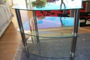 Glastisch mit 3 Ablagen Edelstahlbeine