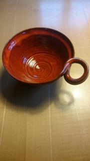 Handgetöpferte Keramik Schüssel orange rot