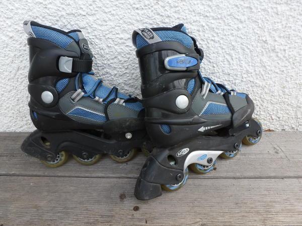 Inliner Gr. 34 35 36 Inline Skates - Gerlingen - größenverstellbar von Gr. 34 bis 36 mit Schnellspannhebel, bequeme Pull-Tight-Schnürung, Chrom-Kugellager, incl. Ersatzstopper, incl. Tasche, blau - Gerlingen