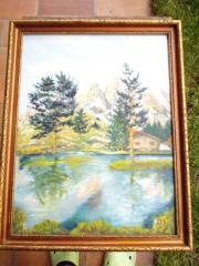Landschaftsbild mit See Ölbild