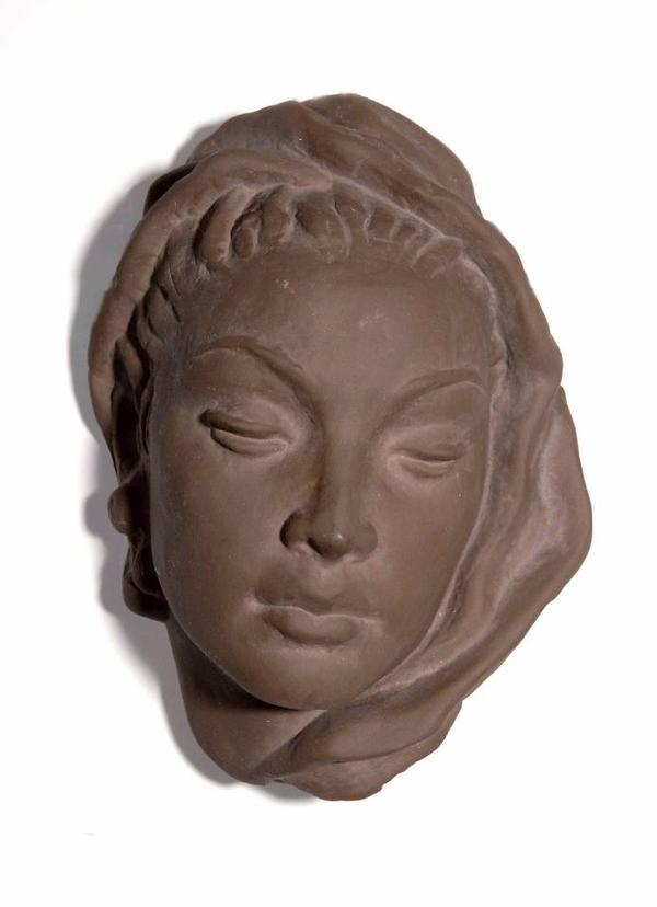 Majolika Wandmaske Frauenkopf » Kunst, Gemälde, Plastik