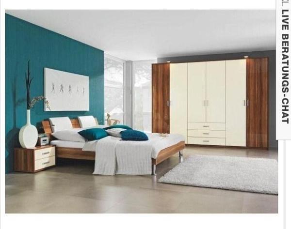 Modernes Schlafzimmer-komplettset In Nussbaum-vanille Hochglanz ... Schlafzimmer Nussbaum