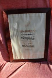 Original Schmiede-Meisterbrief im verglasten Vollholzrahmen