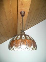 Schöne Keramiklampe braun mit weißen
