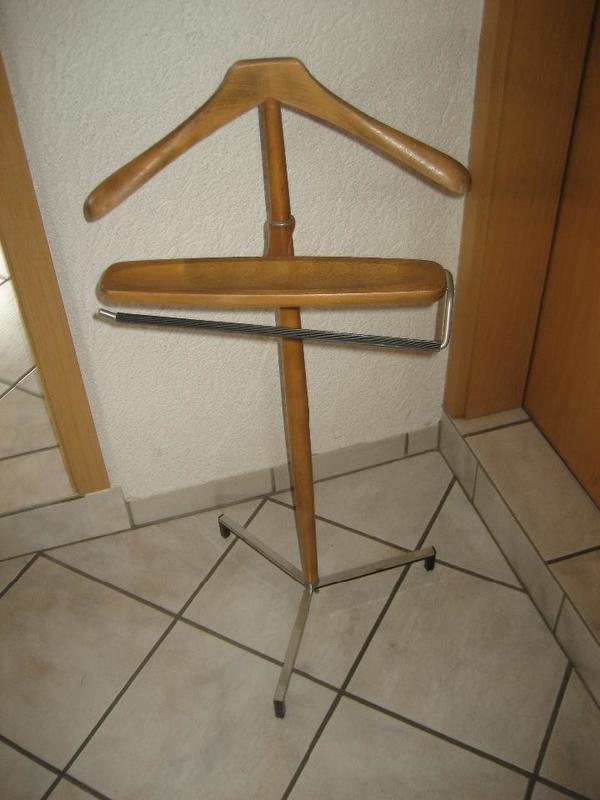 Stummer Diener Kleiderstander Echtholz Metall Raritat