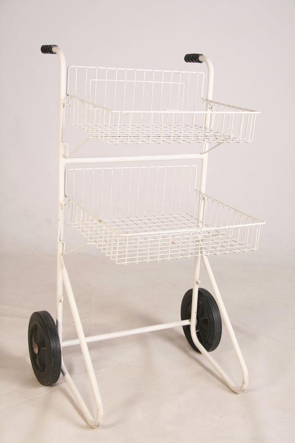 Verkauf-Rollständer-m 2 Körben-Wühlkorb-Ständer Ladeneinrichtung-Gitterregal weiß