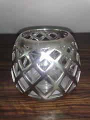 Windlicht - silber - kugelförmig