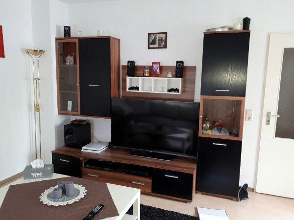 Wohnwand TV Wand Braun Weiß
