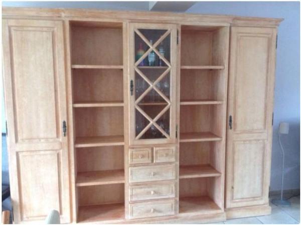 Wohnzimmer Schrank Wand / Mediterran / Pinie Massiv Holz
