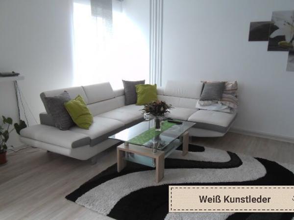 wohnzimmer sitzgarnitur in weiß kunstleder in wirges - polster, Wohnzimmer