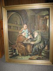 wunderschönes Bild Ölbild Kellermeister Weinbau
